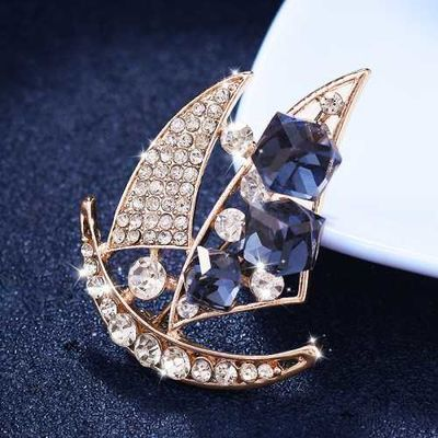 欧美帆船胸针男士西服西装胸花女英伦风别针扣简约领针外套配饰品