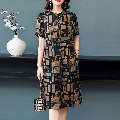 大码妈妈连衣裙女2020夏季新款女装高贵气质中年印花宽松显瘦裙子