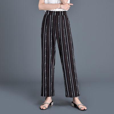 妈妈裤子加肥大码九分裤条纹宽松直筒高腰阔腿裤松紧腰中老年女裤