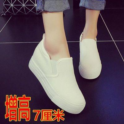 布鞋厚底学生帆布鞋女一脚蹬懒人鞋内增高韩版休闲鞋百搭黑色女鞋