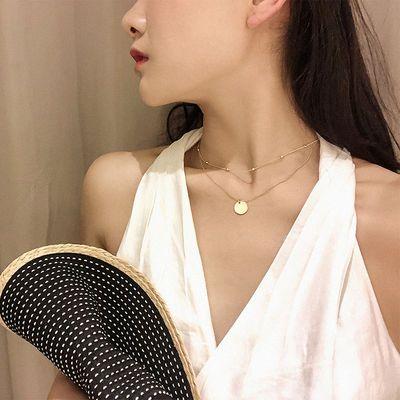 韩版简约个性时尚双层小圆片吊坠项链女潮锁骨链网红颈链脖子饰品