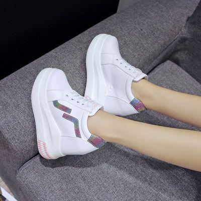2020春季新款内增高女鞋松糕底小白鞋女韩版百搭超高跟厚底休闲鞋
