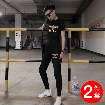 夏季社会精神小伙金标BOY套装短袖男修身一套衣服裤子潮流套装男