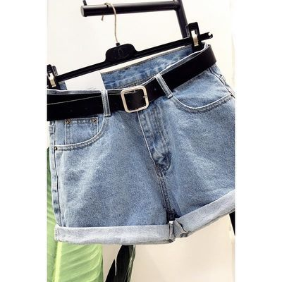 18夏装新款韩版腰带翻边高腰阔腿牛仔短裤女夏季时尚宽松ins热裤