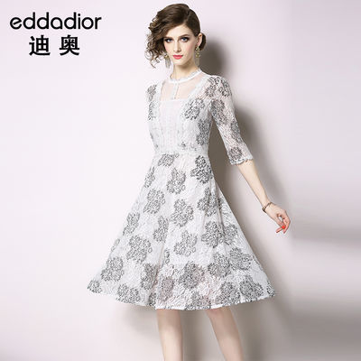 迪奥eddaDior欧美大牌名媛气质女士复古法式仙女修身蕾丝连衣裙夏