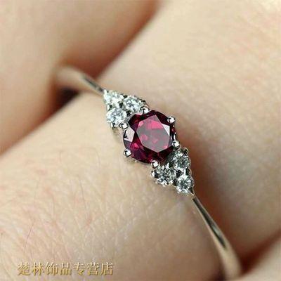 (新款戒指)姐姐同款红宝石 石榴石戒指女 乘风破浪纯银饰品戒指盒