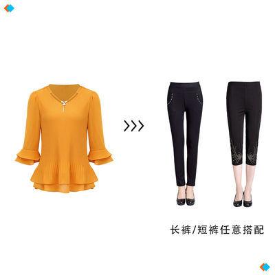 妈妈装夏装衣服套装中老年女装小衫中年女春装雪纺衫洋气短袖上衣