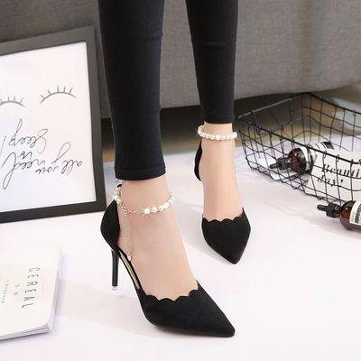 高跟鞋女尖头黑色性感一字扣细跟单鞋2020春夏季新款红色婚鞋女鞋