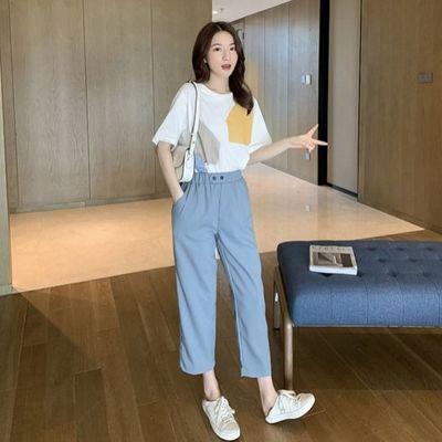 时尚套装女2020夏季简约短袖T恤休闲裤两件套小个子直筒九分裤