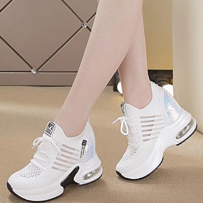 夏季镂空休闲网鞋女透气网面黑色8公分内增高女鞋亮片厚底小白鞋