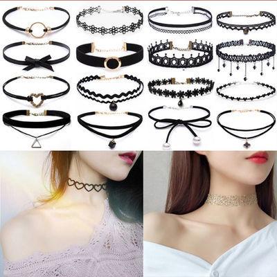 韩版百搭choker项链女学生锁骨链短款颈带流行配饰品项圈脖链蕾丝