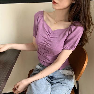 34634/2020夏季复古小心机大V领褶皱泡泡袖针织衫纯色修身短袖冰丝T恤女