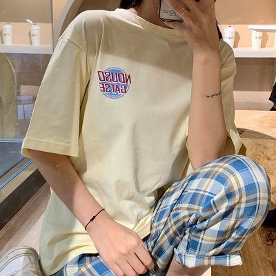 含棉2021新款简约风短袖t恤女学生韩版宽松情侣装上衣百搭ins潮