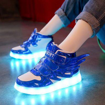 春夏儿童发光鞋USB充电亮灯鞋男童运动鞋女童闪灯鞋led带亮灯童鞋