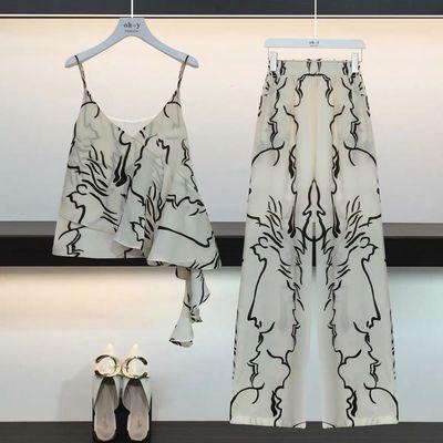 2020夏季新款韩版两件套时尚洋气女神显瘦阔腿裤雪纺吊带套装