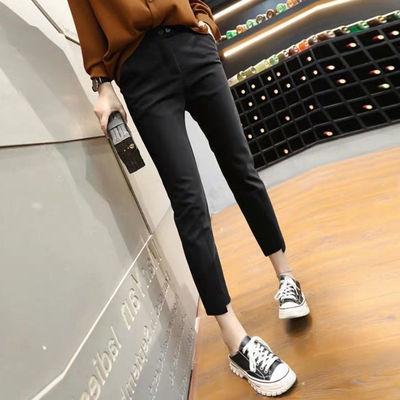 西裤女2020新款夏季薄款春季烟管女裤直筒高腰显瘦小脚黑色九分裤