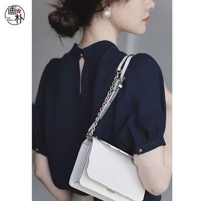 画朴藏青色领结款小泡袖衬衫女装2020年夏季新款气质优雅上衣衬衣