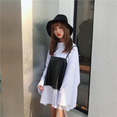 【UP皮】高质量bf风复古港味学生女韩版宽松T恤+上衣女两件套