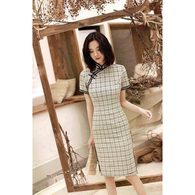 厂家直销小清新修身显瘦格子旗袍中长款文艺复古棉麻旗袍连衣裙女