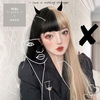 二次元假发女长发空气刘海阴阳双拼黑红长直发lolita伪娘cos 造型