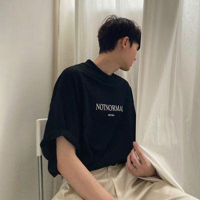 含棉短袖T恤新款简约英文印花韩版夏季韩版宽松圆领ins潮流百搭男