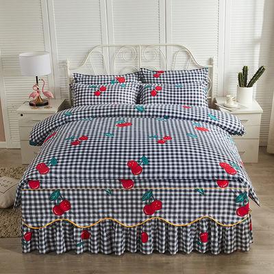 韩版防滑床裙床罩四件套 芊宇 床上用品被套床单学生宿舍4三件套