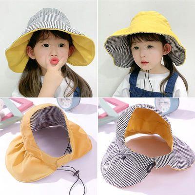 儿童空顶帽子女童夏季防晒遮阳帽亲子小黄帽大檐沙滩帽出游太阳帽