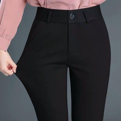 弹力春夏上班西裤女直筒工作裤正装裤职业女士西装裤黑色小脚裤OL