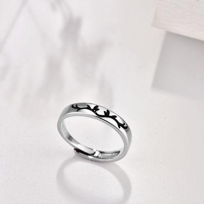 一鹿有你戒指女韩版学生简约情侣戒指一对食指戒指女指环生日礼物
