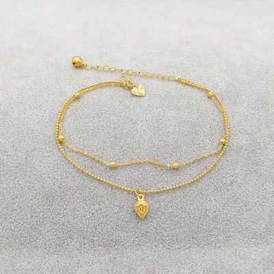铃铛转运珠镀黄金脚链女饰品镀金脚链情侣款本命年礼物