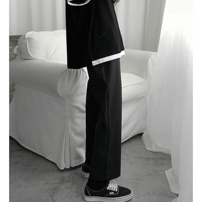 黑色裤子男宽松坠感直筒裤简约百搭ins九分裤男生系绳阔腿休闲裤