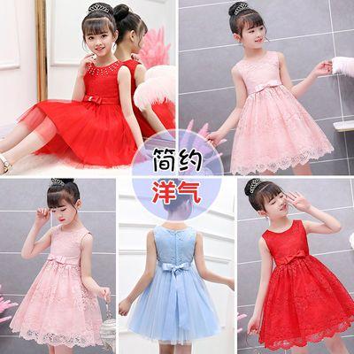 女童连衣裙儿童公主裙礼服小女孩婚纱裙子超洋气蕾丝裙大中童装夏