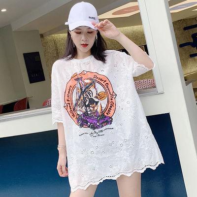 欧货宽松大版镶钻印花五分袖蕾丝T恤女夏季镂空中长款半袖蕾丝衫