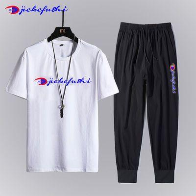 杰刻短袖T恤男休闲运动跑步简约弹力透气中青年九分裤上衣套装潮