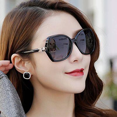 镶钻太阳镜女潮流时尚偏光太阳眼镜女士大框防紫外线圆脸开车眼镜