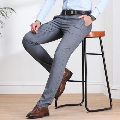 2020夏季薄款男士休闲裤弹力时尚百搭修身直筒高腰休闲男式西裤