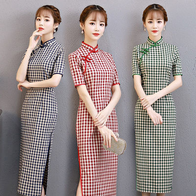 2020新款棉格子旗袍中长款修身显瘦文艺民族风改良淑女气质连衣裙