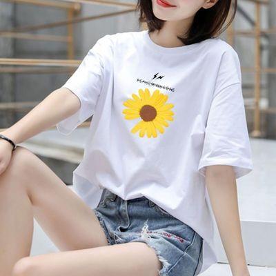 【100%纯棉】2020新款短袖T恤女夏装落肩宽松大码休闲韩版学生潮