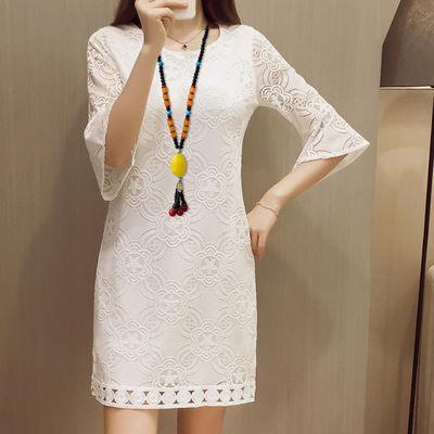 胖mm200斤可穿夏装新款蕾丝大码女装七分袖a字裙大码蕾丝连衣裙潮