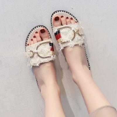 夏季凉拖鞋女夏女士平底毛毛拖鞋女外穿时尚网红韩版百搭一字拖女