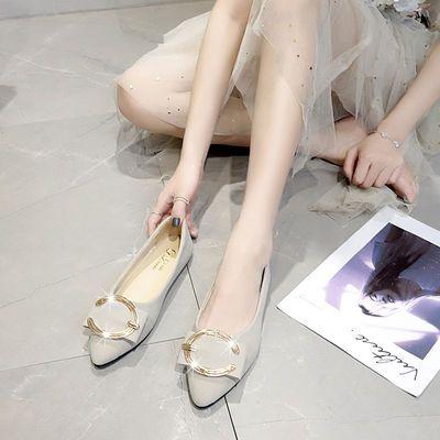 新款单鞋百搭浅口女平底鞋尖头休闲舒适软底工作鞋豆豆鞋绒面269