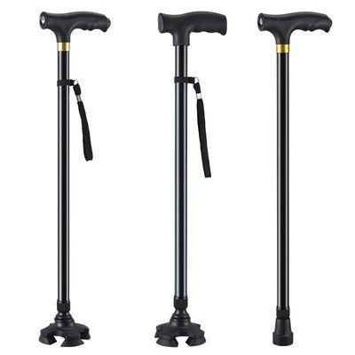 老人拐杖四脚手杖老年人�E轻便多功能伸缩防滑铝合金拐棍捌杖四角