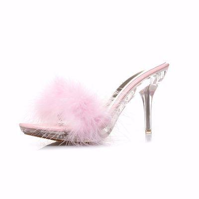 2020新款韩版水晶毛毛凉拖鞋女士夏季网红社会厚底外穿高跟拖鞋子