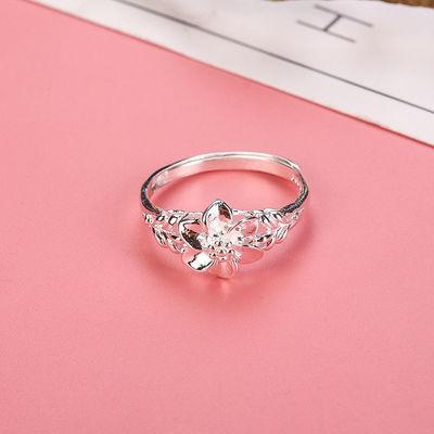 纯银戒指 990足银玫瑰花开口活口女戒指可调节银戒指情侣戒指