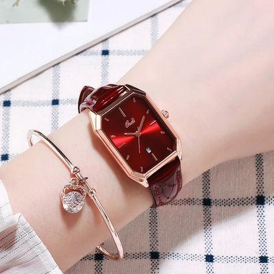 复古真皮女士手表时尚气质方形带日历女款防水手表石英女学生简约