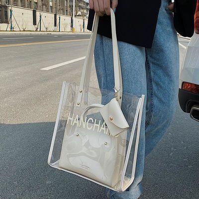 透明PVC购物袋大包包女2020新款潮韩版百搭单肩包斜挎时尚托特包