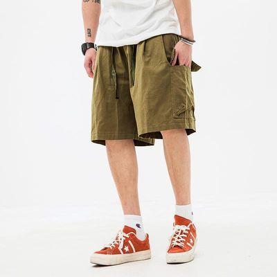 马切达夏季日系直筒五分休闲裤宽松纯色卡其色短裤潮牌男士工装裤