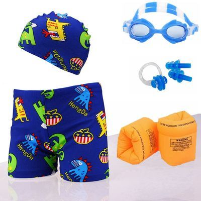 儿童泳裤泳镜泳帽套装小童中童小男孩卡通宝宝游泳裤泳衣男童泳装