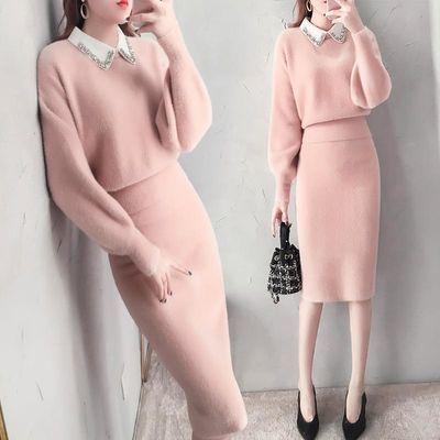 洋气女神范套装裙冬季气质淑女名媛小香风仿貂绒毛衣裙子两件套秋