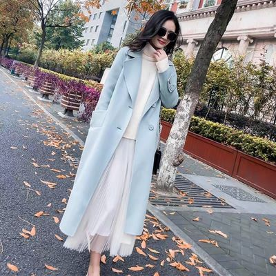 星禾直播间专拍新款韩版修身显瘦中长款双面羊绒大衣